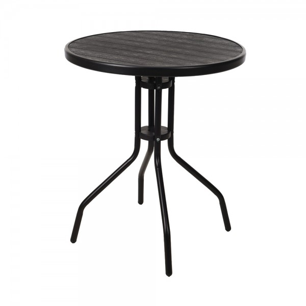 ROUND TABLE WITH WOODEN LOOK TOP