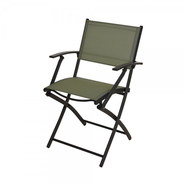 FOLDING CHAIR GREEN WOVEN POLY