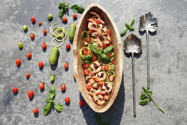 Zoodles Pesto With Porcini Shrimps
