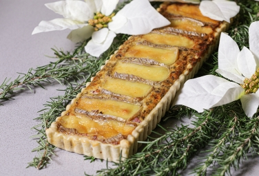 Quiche with Cheeses, Ham and Porcini